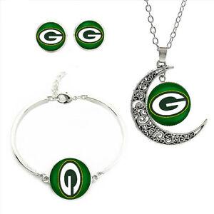 NF110 Green Bay Packers team logo set -necklace, bracelet, earrings-