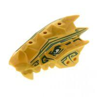 1 x Lego Bionicle Drachen Kopf Ninjago perl gold Oberteil Muster dunkel grün Set