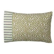 Tiddliwinks Madagascar Standard Pillowcase Stripe Brown Green Animal print Nwt