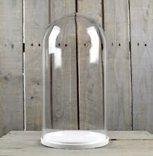 Large Glass Dome Cover Cloche Display With White Wooden Base Height 46 cm
