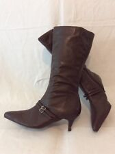 Schuh Brown Mid Calf Leather Boots Size 4