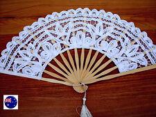 Women lady Retro bride dance White Lace Spanish Party Fancy Costume Folding Fans