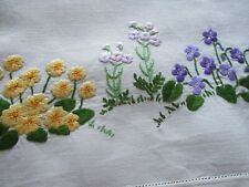 """Vintage Hand Embroidered """"FAIRISTYTCH"""" Linen Tablecloth-EXCEPTIONAL NEEDLE WORK"""