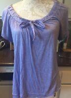 DKNY Petite Scoop Bow Tie Scoop neck Top. Purple. Medium