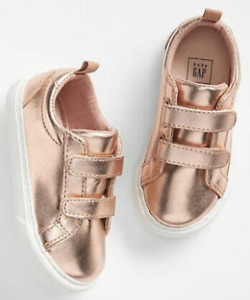 Baby Gap NWT Rose Gold / White Strappy Faux Leather Slip-On Sneakers 6 7 8 $35