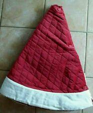 """Pottery Barn Basic Christmas Holiday Santa Velvet Tree Skirt Red Ivory 60"""""""