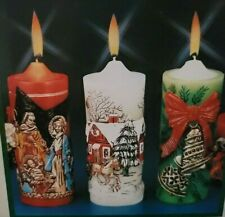 Christmas Holiday Pillar Candles - Set of 3