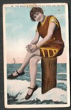 1916 Girl in a bathing suit sitting on beach post pc Venice CA to San Bernardino