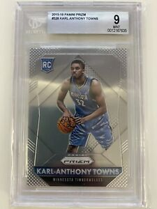 2015-2016 PANINI PRIZM KARL ANTHONY TOWNS RC #328 BGS PSA 9 MINT ROOKIE Wolves