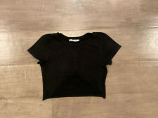 Amante Shredded DISTRESSED Punk Rock Crop Top Black SHIRT Tight Sexy Sz Small