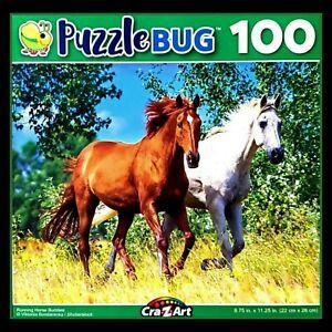 100 Piece Jigsaw Puzzle Sealed Box Puzzlebug 9 x 11 Running Horse Buddies