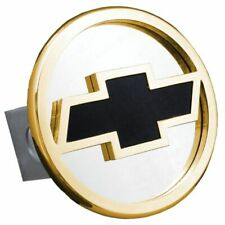 """Chevrolet Black and Gold Stainless Steel 1.25"""" Trailer Tow Hitch Cover"""