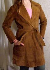 Women's Leather Trench Coat Belt Tie Jacket Vintage Brown Size Small