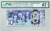 Canada $10 Banknote PMG Grade Paper Money Currency Superb GEM UNC 67 EPQ 2017