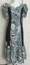 Vtg Liberty House Hawaiian Tropical Puff Sleeves MuuMuu Long Ruffle Dress Sz S