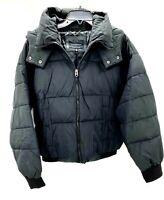 Lucky Brand Womens Black Hooded Puffer Jacket Full Zip Coat Sz Large NWT