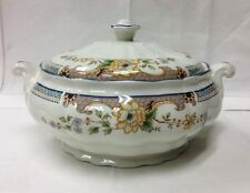 "ROYAL DOULTON ""TEMPLE GARDEN"" COVERED VEGETABLE BOWL 9 1/2"" FINE CHINA ENGLAND"