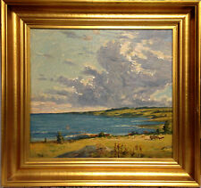 Axel Lassen (1869-1946): COASTAL LANDSCAPE with PUFFY CLOUDS