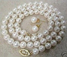 """8MM White South Sea Shell Pearl Necklace Earring Set 18""""AAA+  055"""