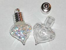 1 pc.little Bubble Tear Heart Drop Glass bottle vial charm pendant silver plated