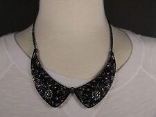 "statement necklace 17"" - 19"" long Black Clear crystal filigree cutout collar bib"