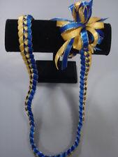 Hawaiian Braid Metalic Edge Ribbon Lei Royal Blue and Gold