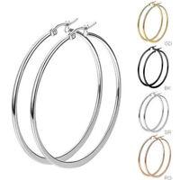 Womens Girls Black/Silver/Rose Gold/Gold Stainless Steel Big Round Hoop Earrings
