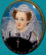 """""""Queen Mary Of Scotts """" Russian Hand Painted Fedoskino LACQUER BROOCH"""