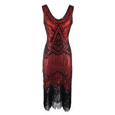 Women's 1920s V Neck Flapper Dress Beaded Sequin Vintage Gatsby Evening Dress