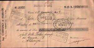 """1929 - ASSEGNO BANCARIO """" CARPANO & FERRARI """" TORINO"""
