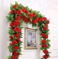 2PC 8Ft Artificial Rose Garland Silk Flower Vine Ivy Wedding Wreath Fake Rose