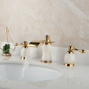 3PCS Gold Waterfall Bathroom Faucet Double Handles Brass Mixer Deck Mounted Taps