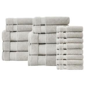Bath Towel Set Absorbent Body Hand Dry Bathroom Egyptian Cotton 18 Piece Gray