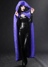 Halloween Gothic Long Purple Velvet Hooded Cape