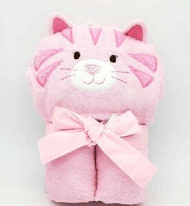Just Born Baby Hooded Bath Towel Pink Kitty Cat Girl Baby Shower Gift NWT