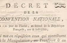 Révolution Décret 2340 Convention Nationale Transport marchandises