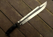 CUSTOM HANDMADE PREDATOR MACHETE BOWIE WITH COWHIDE LEATHER SHEATH