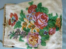 Antique micro beaded floral purse, no reserve.
