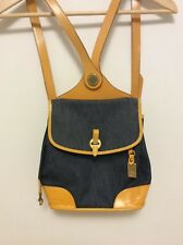 Vintage Dooney & Bourke Blue Denim With Yellow Leather Straps, Backpack