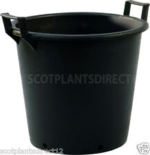 10 x 35 Litre Heavy Duty Black Plastic Plant Pot With Handles & Drainage  (e415)