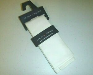 tommy hilfiger designer 100% cotton kit pocket square handkerchief -white