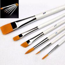 6Pcs Artist Paint Brush Set Flat/Pointed Tip Watercolor Painting Brush Pen Kit