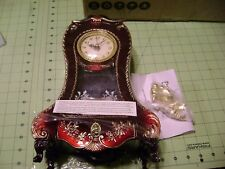 NEW RED+GOLD TONE CLOCK STYLE ,JEWELRY+MUSIC BOX