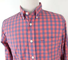 Abercrombie Fitch XL Slim Fit Shirt Checkered Pink Blue Long Sleeve Cotton Blend