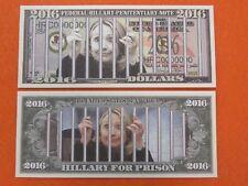 HILLARY CLINTON For Prison, Behind Bars ~ $1,000,000 One Million Dollar Bill