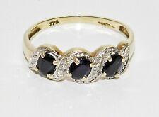 9ct Gold Blue Sapphire & Diamond Eternity Ring size L