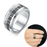 Piano Keyboard Ring Lucky Spinner Men Ring Stainless Steel Stress Relief Jewelry
