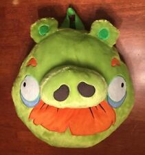 "Angry Birds 13"" Green Moustache Pig Plush Backpack-Angry Birds Pig Backpack-EUC"
