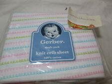 New Gerber One Knit Crib  Cotton Sheet ~ Pink, Blue and Green Twist NIP