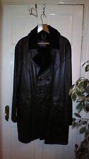"Vintage Leather Jacket Double Breasted Coat Faux Fur Bendyk Northern Soul L 44"""